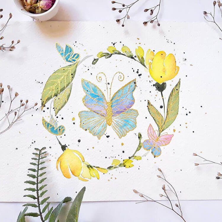 watercolor butterfly painting ideas 18