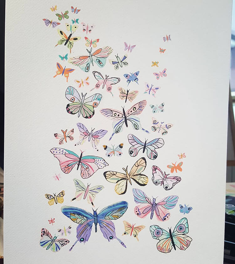 watercolor butterfly painting ideas 17