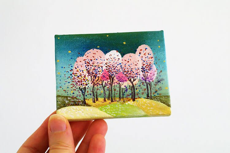 MINI CANVAS PAINTING OF PINK TREES