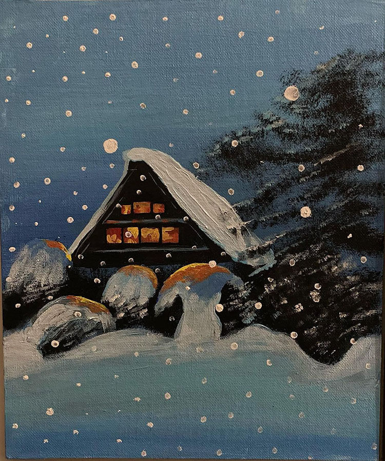 SNOWY HOUSE SCENE FOR WINTER