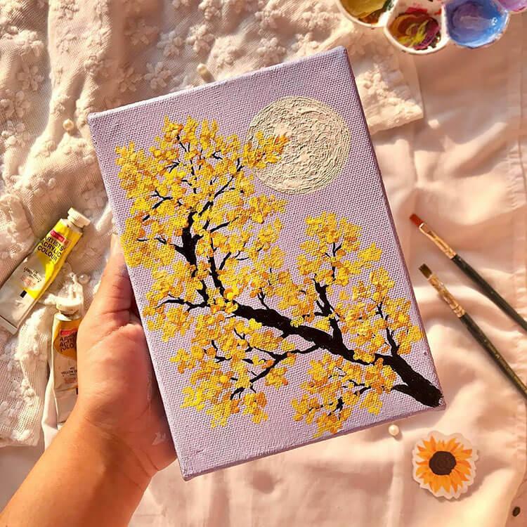 YELLOW SAKURA FLOWERS WITH MOON