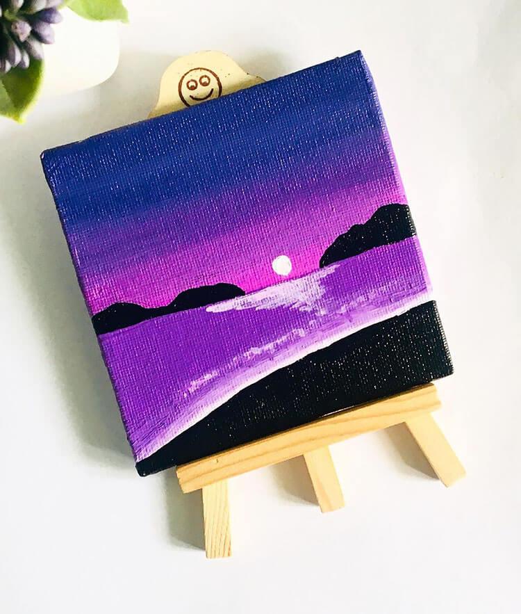 PURPLE SUNSET ON BEACH