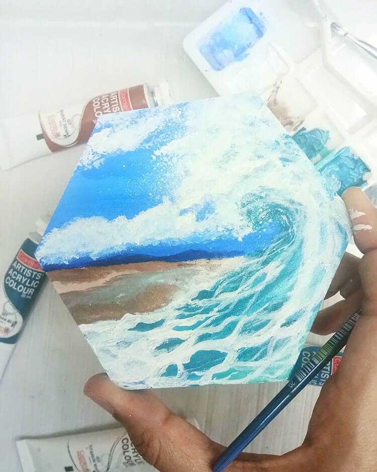 BEACH WAVES ACRYLIC PAINTING IDEAS