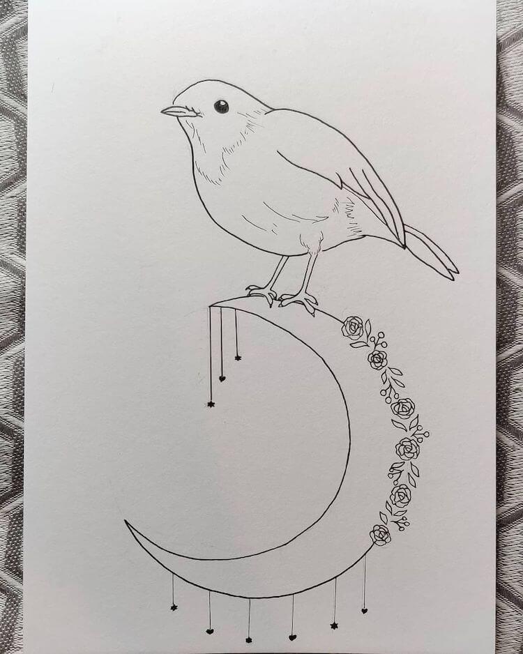 BIRD ON MOON