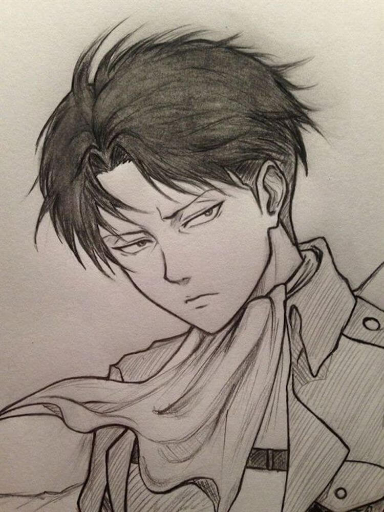 drawing of Levi attack on titan