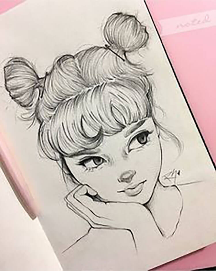 A GIRL WITH PIGTAILS AND BANGS