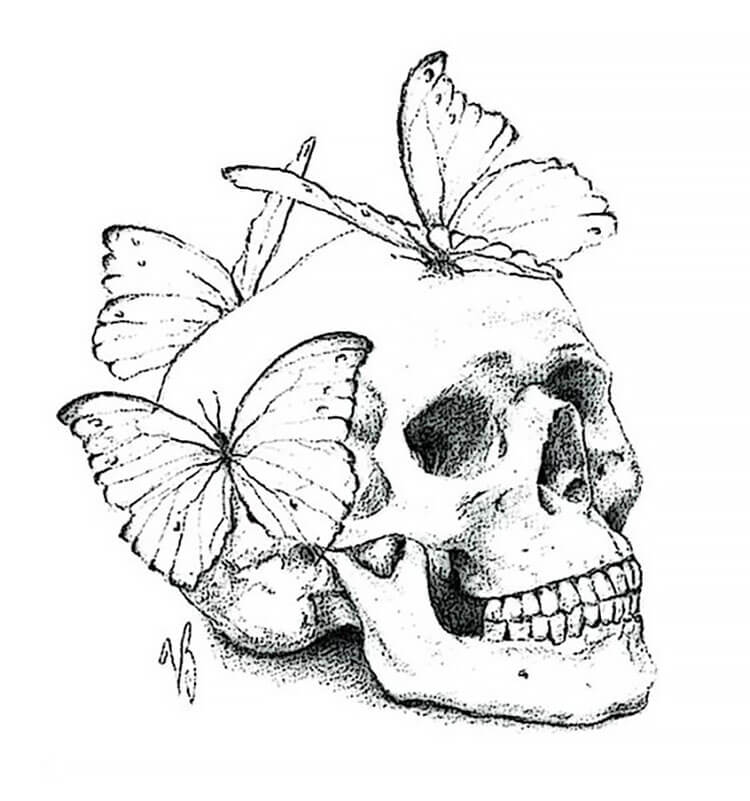 A SKULL WITH BUTTERFLIES