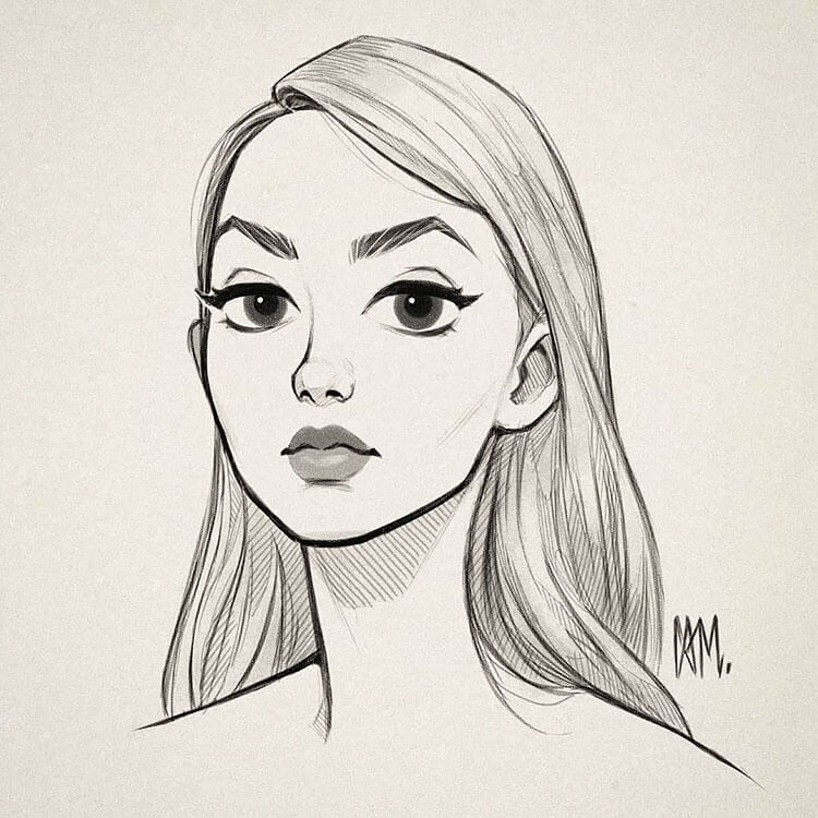 SIMPLE GIRL DRAWING WITH STRAIGHT HAIR