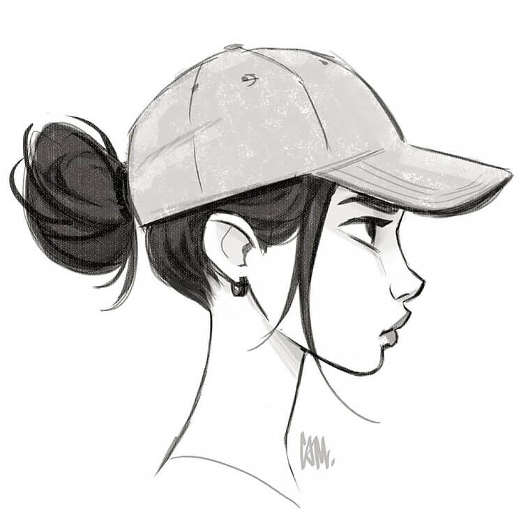 GIRL WITH SIDE PROFILE AND HAT