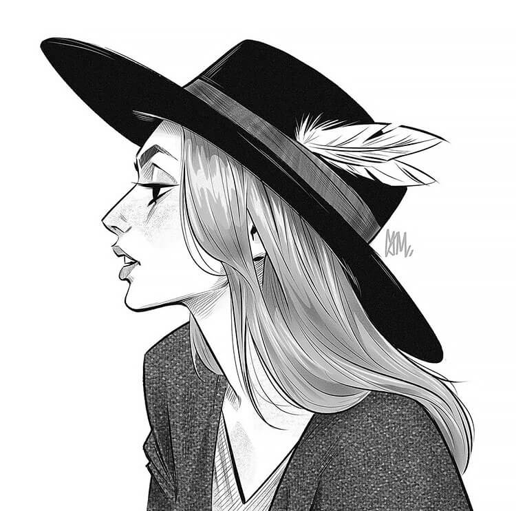 WOMEN WITH SIDE PROFILE WEARING HAT WITH FEATHER