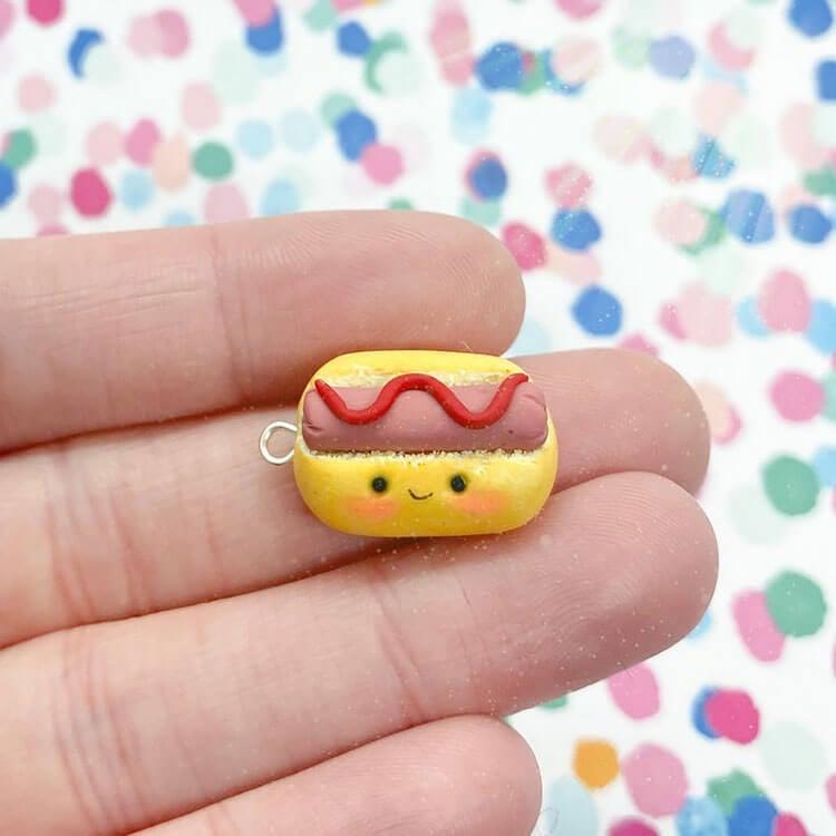 hot dog polymer chlay charm