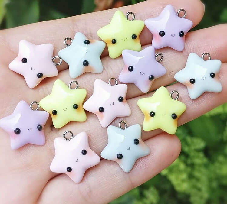 star polymer clay charms