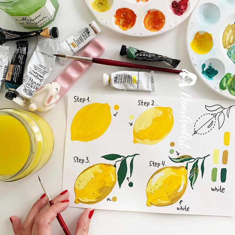 watercolor lemon painting