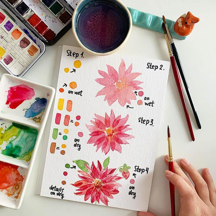 flower watercolor painting