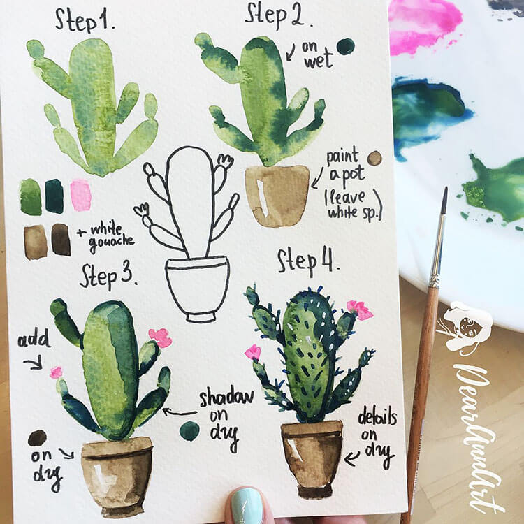 cactus watercolor painting