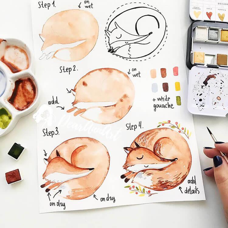 fox watercolor painting