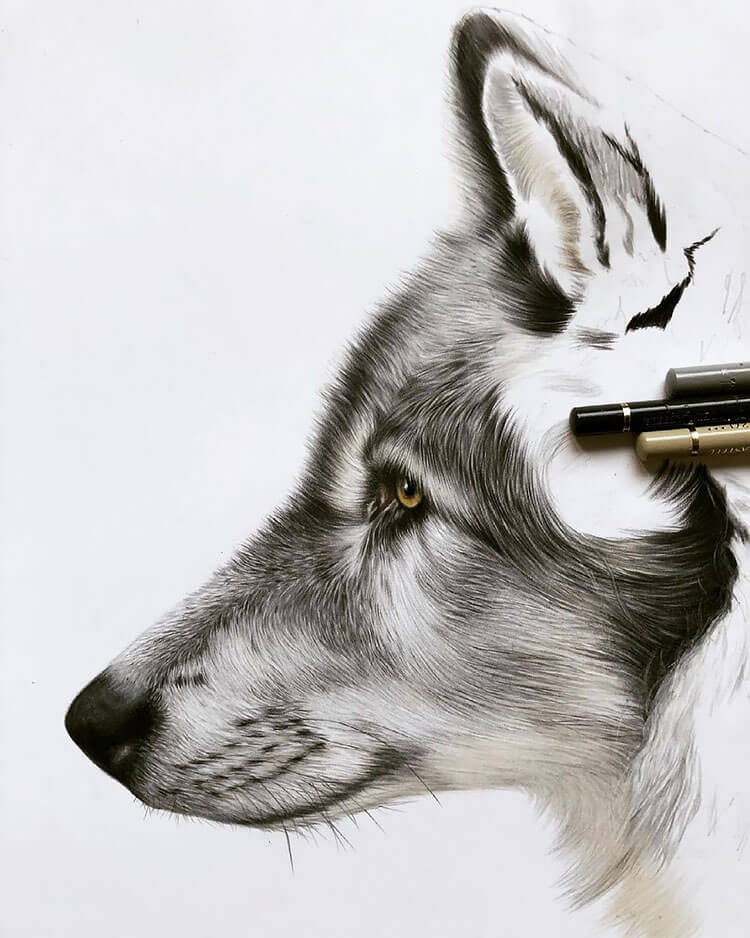 WOLF WITH REALISTIC FUR