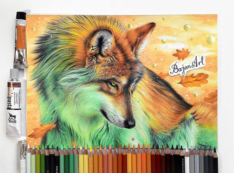 FANTASY WOLF WITH FALL THEME