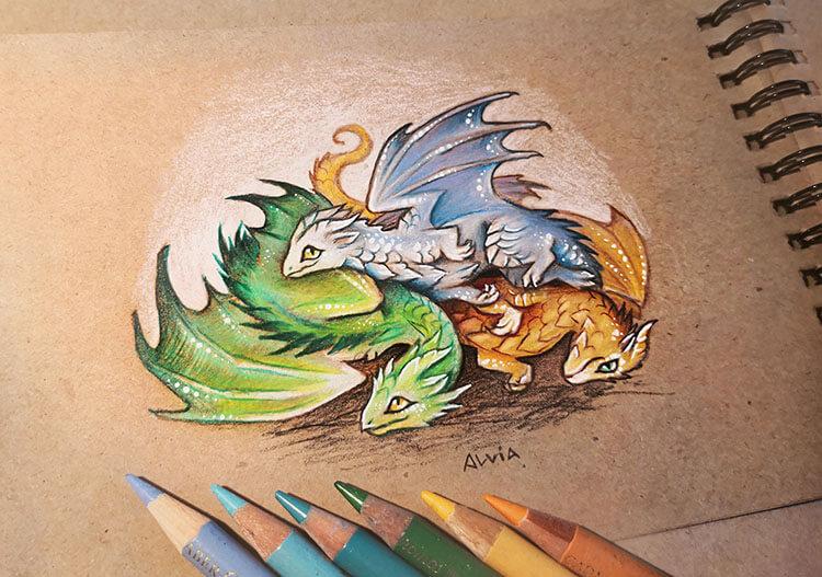 three baby dragons