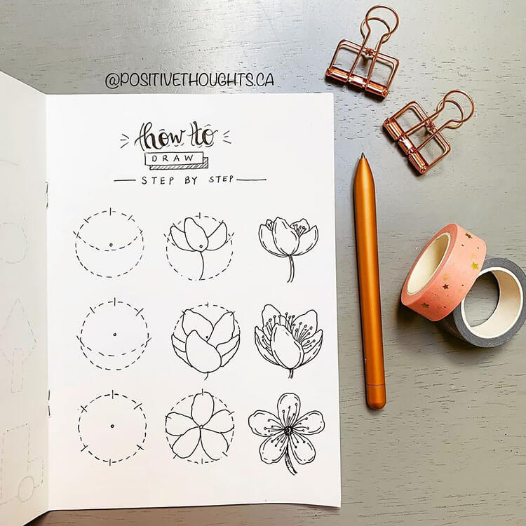 how to draw cherry blossoms tutorial