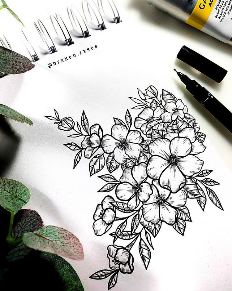 black ink flower drawing
