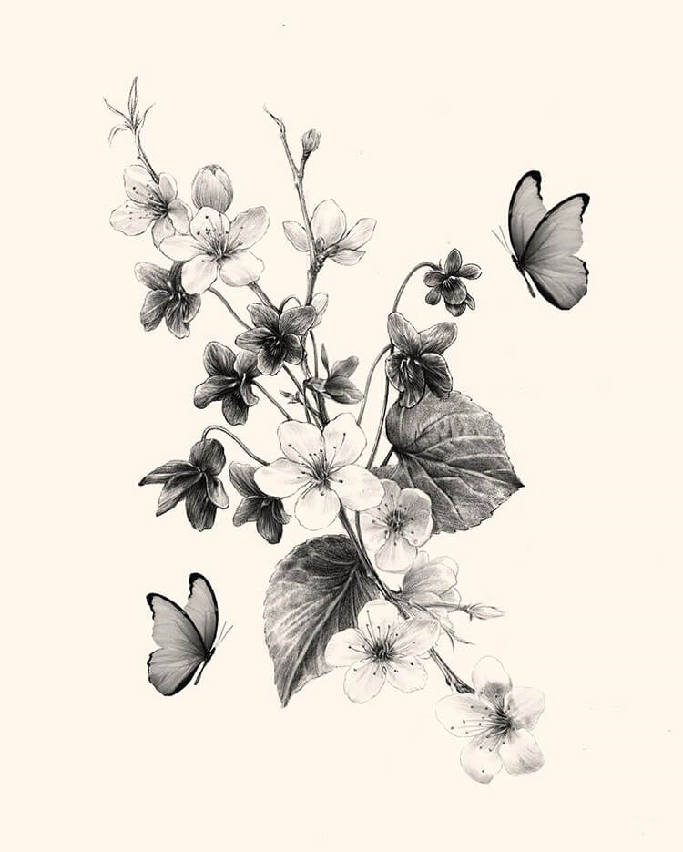 cherry blossom with butterflies