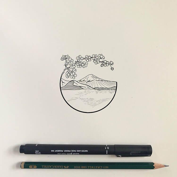 sakura and mountain drawing