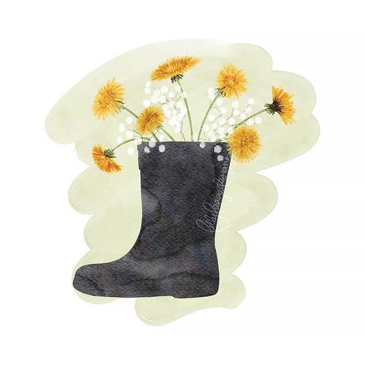 dandelions in rain boots