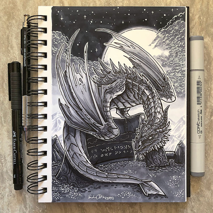 dragon with moon