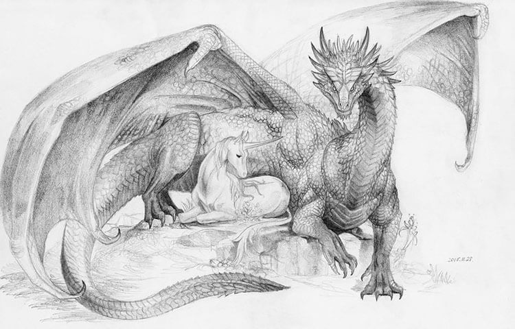 dragon with unicorn