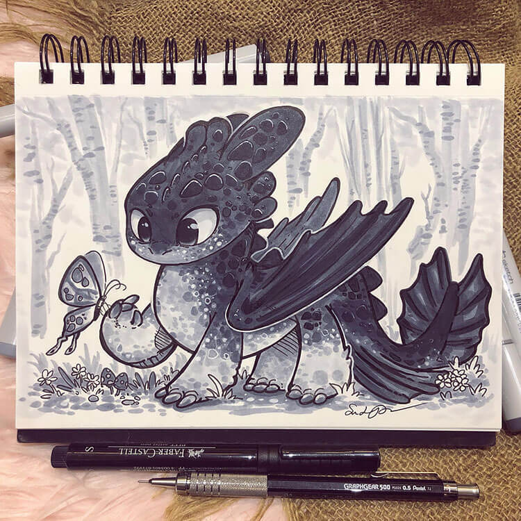 baby dragon with butterfly