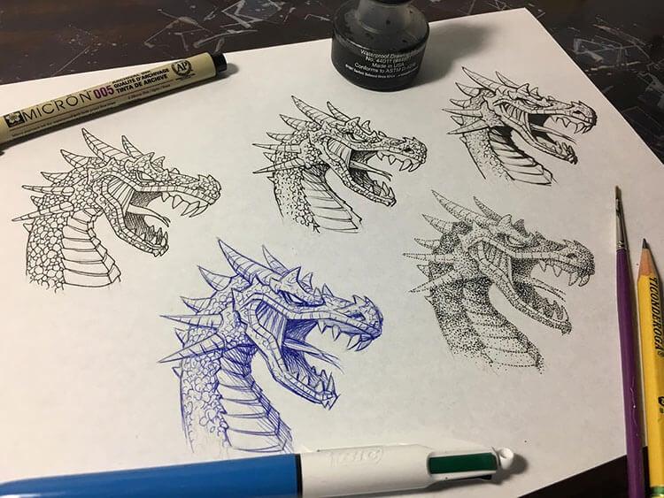 dragon head drawings