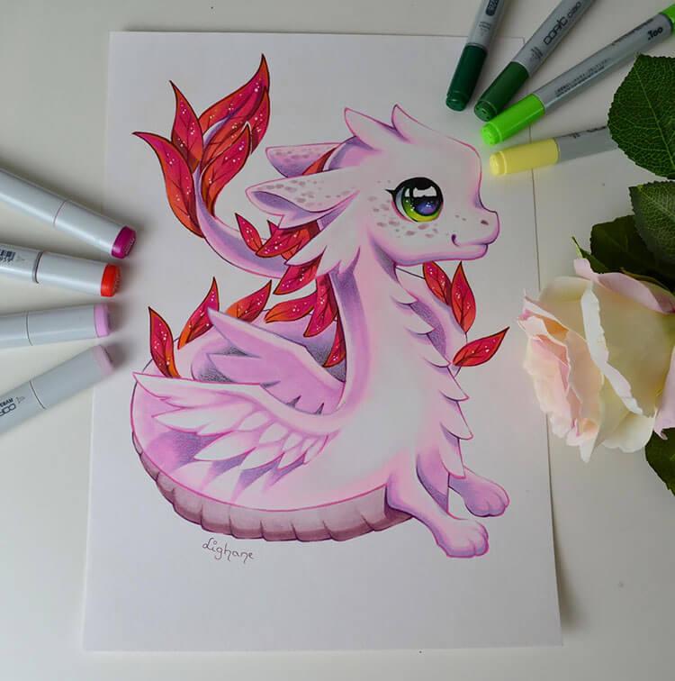 cute pink dragon