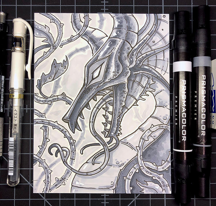steampunk dragon drawing