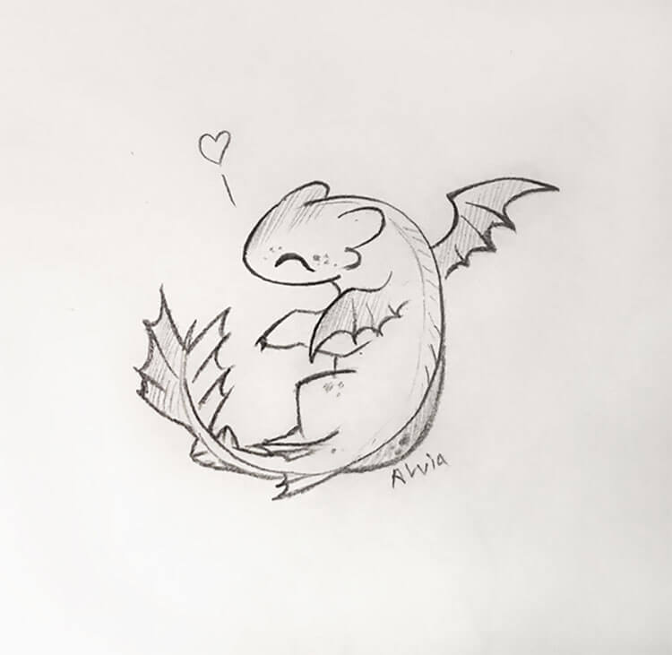 easy baby dragon drawing