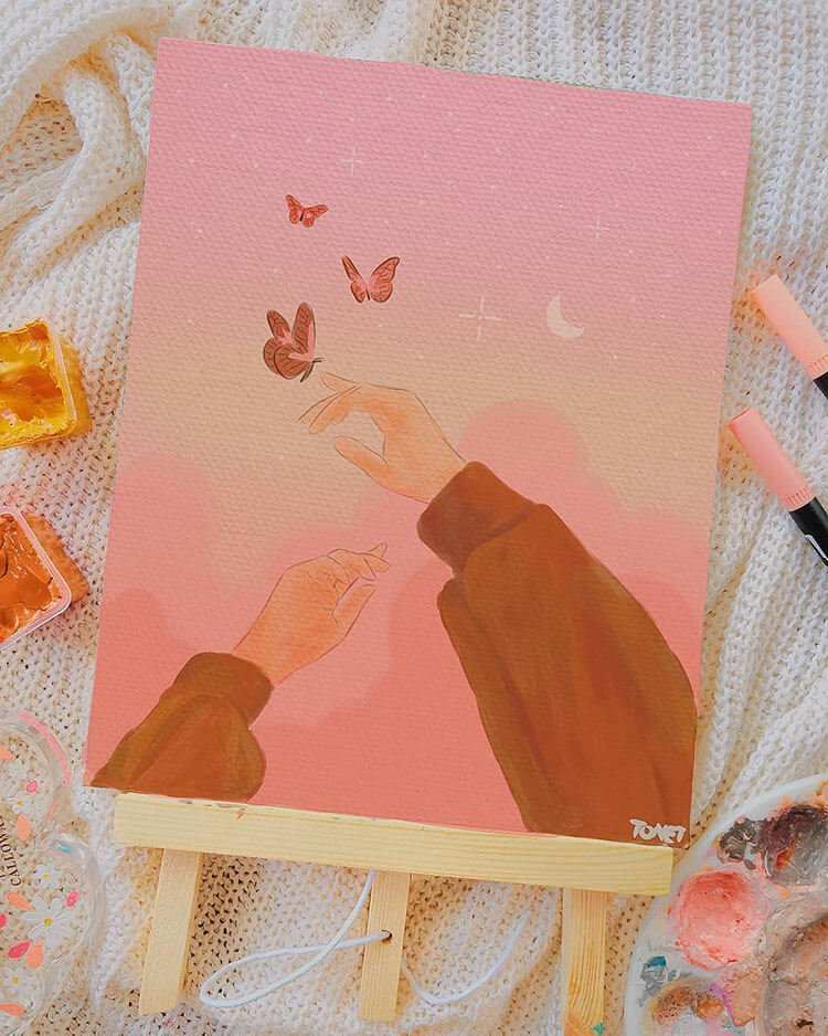 gouache painting with hand and butterfly