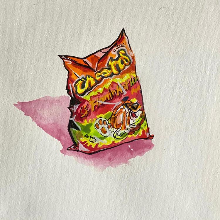 pintura de bolsa de cheetos calientes