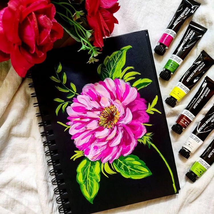 pintura de gouache de flores