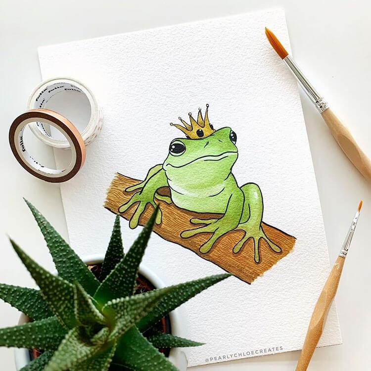 pintura de la rana