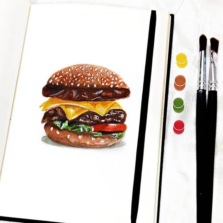 pintura de hamburguesa