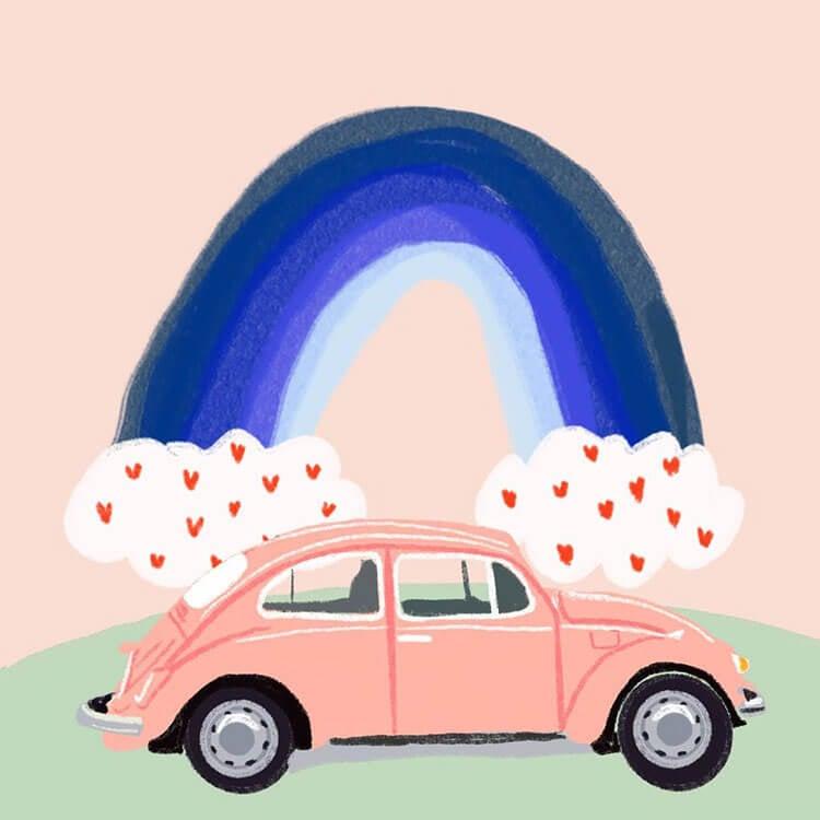 coche escarabajo con arcoiris