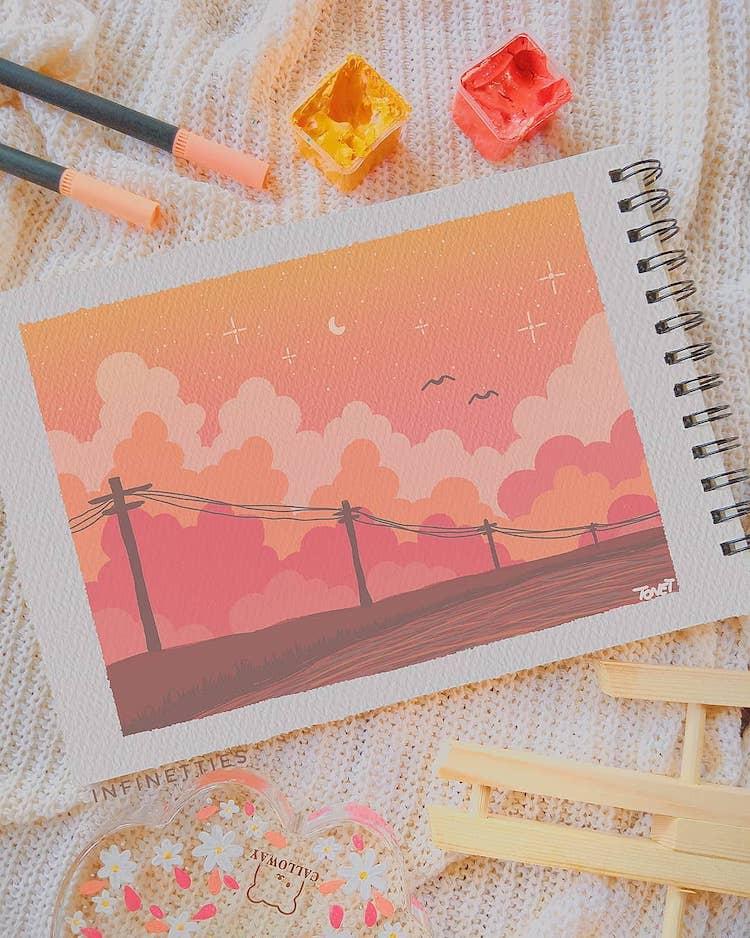 gouache sky painting