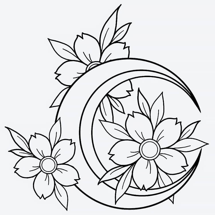 moon and flower tattoo