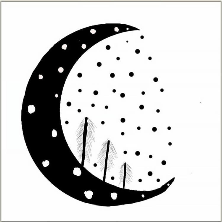 moon with trees drawing