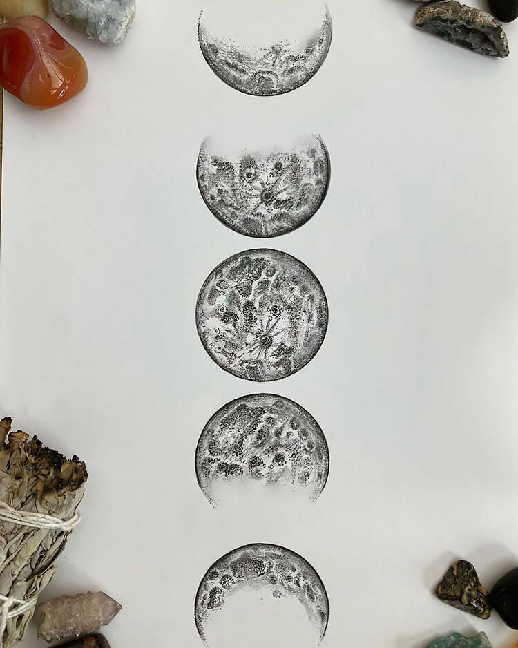 moon phases drawing