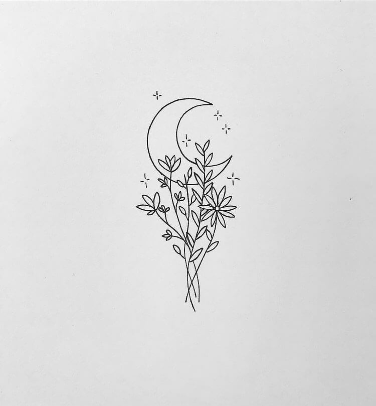 moon with flowers drawing and tattoo