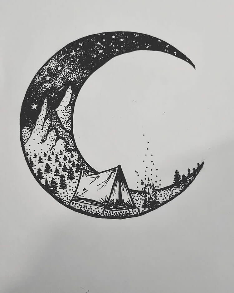 moon drawing with tent