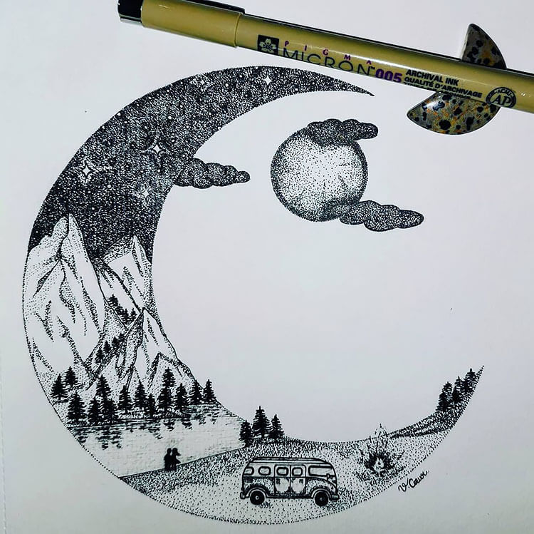 moon drawing with camper