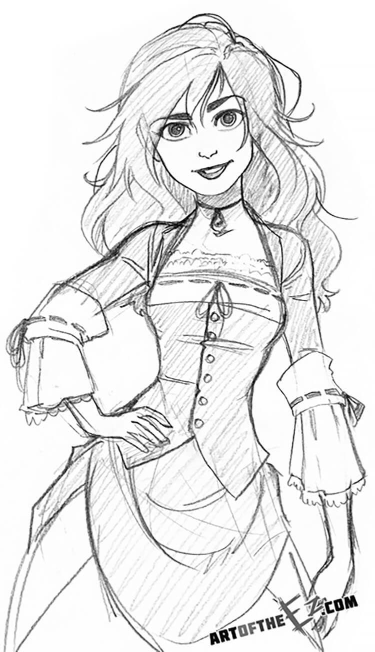dibujo de niña con vestido