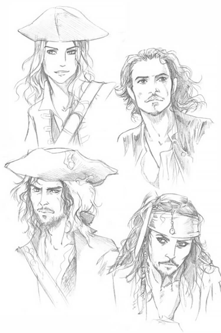 piratas del caribe bocetos